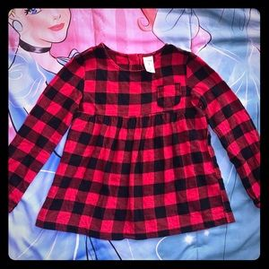 NWOT Carter's Red Black Plaid L/S Tunic Top 5 XS
